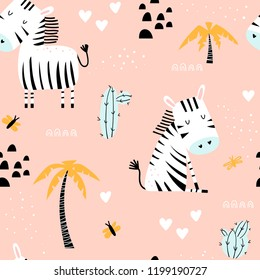 Kids seamless pattern with cute zebras, palm trees and cacti on a pink background. Funny vector illustration.