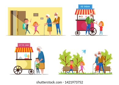 Kids with seniors flat vector illustrations set. Grandparents and little children cartoon characters. Grandkids on holidays. Boy and girl spend time together with grandmother and grandfather