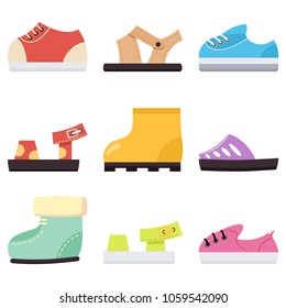 Kids shoes for baby boy and girls set. Children's sneakers, sandals and boots vector cartoon flat icons isolated on white background.