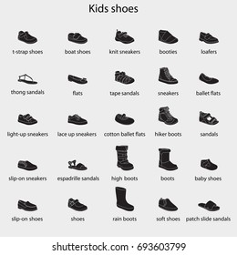 Kids shoes, set, collection of fashion footwear with names. Baby, girl, boy, child, childhood. Vector design isolated illustration. White outlines, black silhouettes, white background.