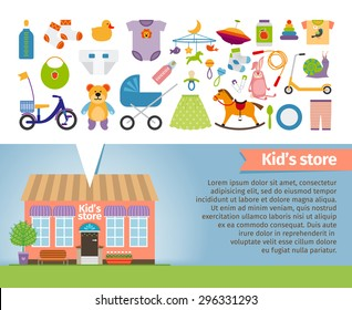 Kids shop. Childrens clothing and toys. Retail and snail, whirligig and socks, rattle and pacifier, stroller and bear. Vector illustration