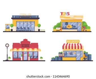 Kids shop store front collection. Vector flat set with shops for families and kids like furniture boutique, clothes, toys, stroller. Small local business buildings