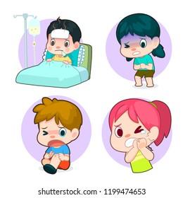 stomachache cartoon images stock photos vectors shutterstock https www shutterstock com image vector kids sick cartoon set stomachache toothache 1199474653
