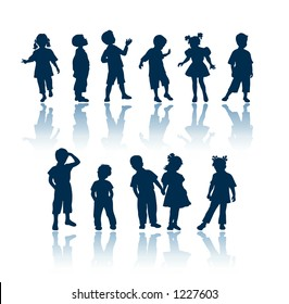 """Kids silhouettes. To see all my silhouettes, search by keywords: """"agb-svect"""" or """"agb-srastr"""""""