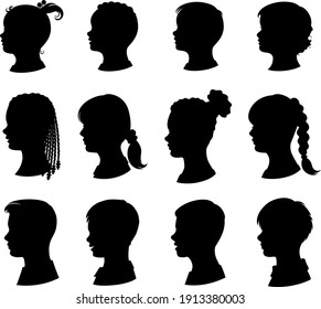 Kids silhouettes set. Collection of vector silhouettes of boys and girls. Young children and teenagers with a variety of hairstyles.  Isolated black silhouette. Vector illustration