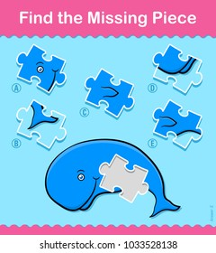Kids simple little green cartoon Whale Find The Missing Piece educational puzzle swimming underwater with one missing piece and five variations to choose from to solve the riddle, vector illustration