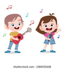 kids sing play guitar vector illustration
