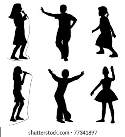Kids singing dancing (vector)