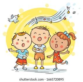Kids singing together, variant with cartoon hands, colorful vector illustration