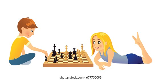Kids sitting on the floor and playing chess, boy and girl with chess board, vector illustration