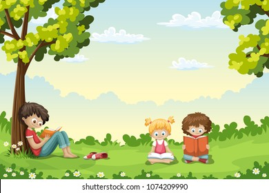 Kids are sitting on a meadow and reading books
