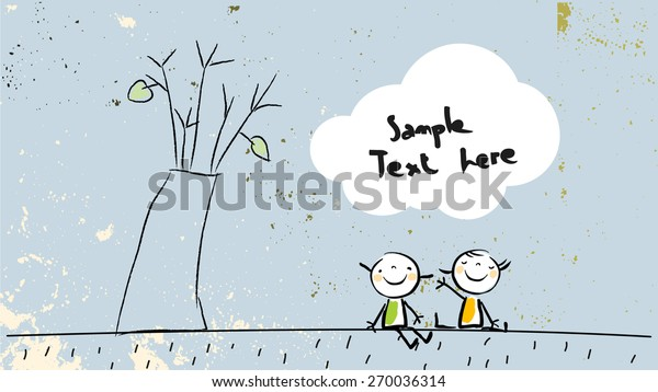 Kids sitting under a tree, in a park, friendship concept. Cute vector illustration, childhood style drawing, with copy space. Doodle, sketch.