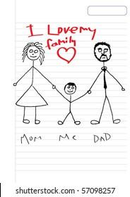 kids sketch happy family - i love my family