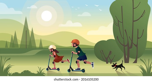 Kids with a small black dog ride scooters outside the city on a summer vacation. Vector illustration for landing page mockup design or advertising banner.