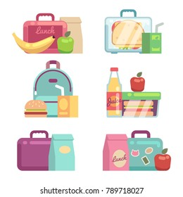 Kids snacks. School lunch boxes vector set. Container with dinner, lunchbox and lunchtime illustration