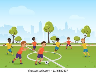 Kids soccer game. Boys playing soccer football on the school sport field. Cartoon vector illustration.