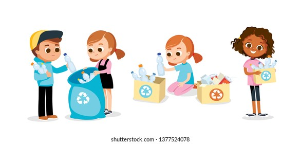 Kids sorting waste. Eco friendly concept.