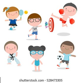 kids and sport, Children playing various sports on white background,swimming, boxing, football, tennis, karate, Darts, Vector illustration