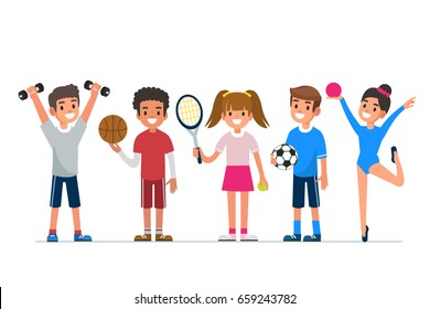 Kids  sport. Flat style vector illustration isolated on white background.