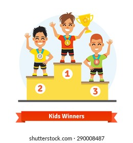 Kids sport winners standing on podium with medals and gold shining cup. Colorful vector illustration.
