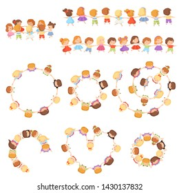 Kids Standing Together Holding Hands Set, Cute Little Boys and Girls Dancing in Circle, Front View and View from Above Cartoon Vector Illustration