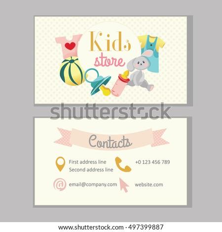 kids store baby shop or kindergarten business card template