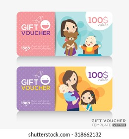 kids store coupon voucher or gift card design template with illustration of cute mother and children