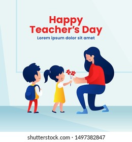 Kids student giving flower to her teacher flat illustration for happy teacher's day background poster concept. Modern flat style graphic design.