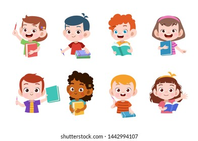 kids study together happy vector illustration