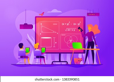 Kids studying mathematics in digital classroom with teacher, tiny people. Math lessons, digital maths laboratory, math tutoring classes concept. Vector isolated concept creative illustration.
