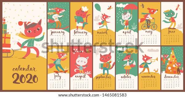 Best Cartoons 2020.Kids Style Cartoon Vector 2020 Calendar Stock Vector