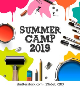 Kids summer Camp 2019, education, creativity art concept. Banner or poster with white background, hand drawn letters, pencil, brush, paints. Vector illustration.