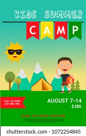 Kids summer camp ad, poster or flyer template with little boy and outdoor landscape. Vector illustration