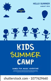 Kids summer camp ad, poster or flyer template with jumping little children silhouettes and outdoor landscape. Vector illustration