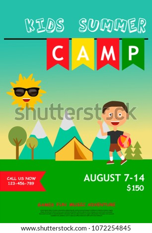 kids summer camp ad poster or flyer template with little boy and outdoor landscape