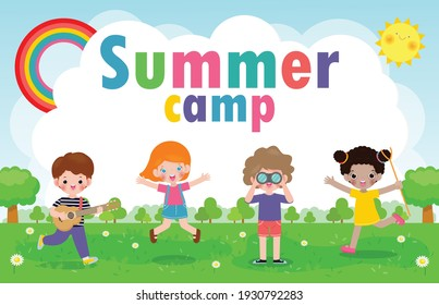 kids summer camp background education Template for advertising brochure or poster, happy children doing activities on camping, poster flyer template, your text ,Vector Illustration