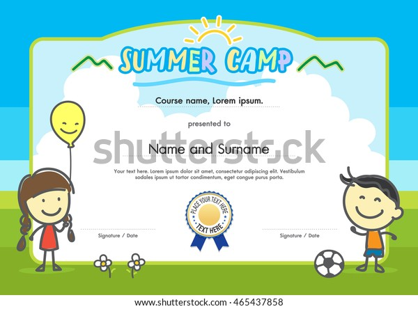 kids summer camp certificate document template stock