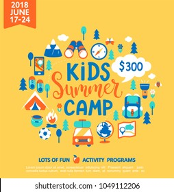 Kids Summer camp concept with handdrawn lettering, Camping and Travelling on holiday with a lot of camping equipment such as tent, backpack and others. Poster in flat style, vector illustration.