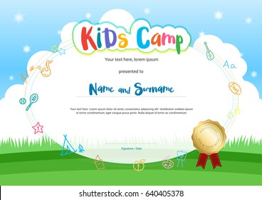 Kids summer camp certificate document template stock vector kids summer camp diploma or certificate with cartoon style background yelopaper Image collections