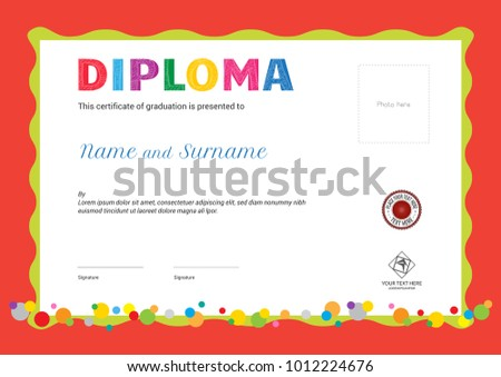 kids summer camp diploma certificate template のベクター画像素材