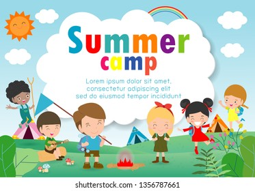 kids summer camp education Template for advertising brochure, children doing activities on camping , poster flyer template, your text ,Vector Illustration