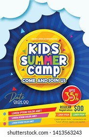 Kids Summer Camp Fest activities of banner poster design template for