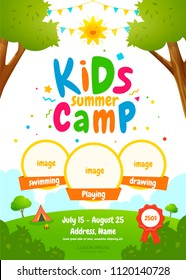 Kids summer camp poster design template. Childrens tourism flyer. Vector illustration