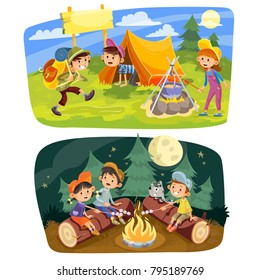 Kids summer camping vector concept illustration. Group of teens make a camp at nature, rest in tent, cook food outdoor and roast marshmallow on campfire in evening time. Set of two horizontal banners