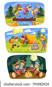 Kids summer camping vector concept illustration. Group of teens go hiking at nature with backpacks, rest outdoor, cook food, roast marshmallow on campfire in evening. Set of three horizontal banners