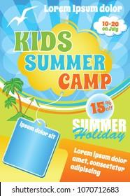 Kids Summer Fest Flyer, vector colorful cartoon template