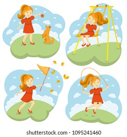 Kids summer games on sky background with clouds. A little cute girl in a dress playing with a dog, swinging on a swing, catching butterflies with a net, jumping rope. Vector illustration.