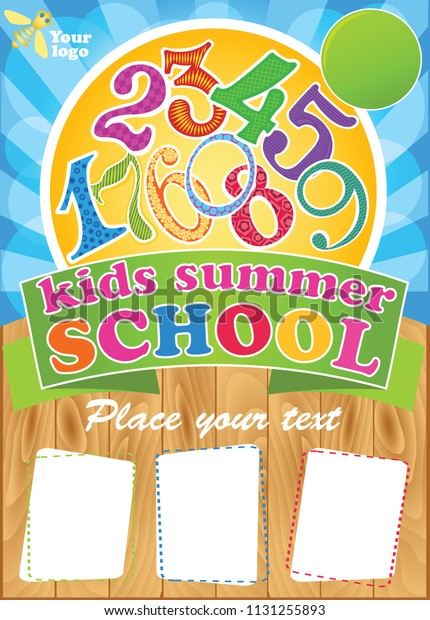 Kids Summer School Template Summer Fest Stock Vector