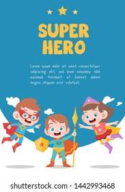 kids superhero kids birthday party card vector illustration