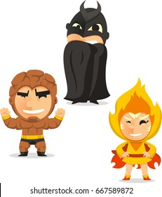 Kids in superheroes in costmumes set isolated on white background cartoon vector illustration